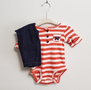 Carter's Stripped top and denim pants, 3 months